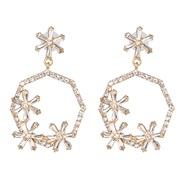 ( white) occidental style geometry color glass diamond diamond hollow ear stud earring flowers