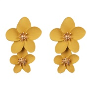 ( yellow) occidental style ear stud leather flower ear stud flowers earrings woman