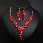 ( red)occidental style crystal brief gem necklace earrings set bride