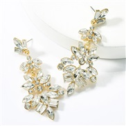 ( white)occidental style exaggerating personality multilayer Alloy diamond glass diamond flowers fully-jewelled earrings
