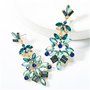 occidental style exaggerating personality multilayer Alloy diamond glass diamond flowers fully-jewelled earrings retr