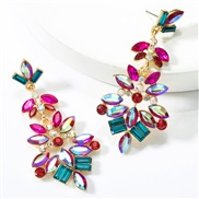 ( rose Red )occidental style exaggerating personality multilayer Alloy diamond glass diamond flowers fully-jewelled earr