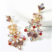 ( Gold)occidental style exaggerating personality multilayer Alloy diamond glass diamond flowers fully-jewelled earrings