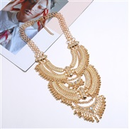 ( Gold)occidental style exaggerating retro carving necklace long style multilayer clavicle chain