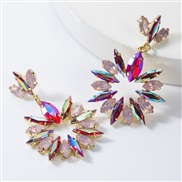 ( rose Red)earrings occidental style multilayer diamond glass diamond fully-jewelled flowers earrings woman fashion supe