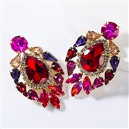( red)occidental style exaggerating fashion drop multilayer Alloy diamond glass diamond earrings woman trend super arrin