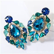 ( blue)occidental style exaggerating fashion drop multilayer Alloy diamond glass diamond earrings woman trend super arri