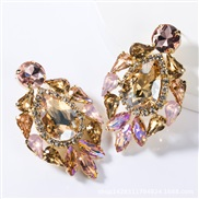 ( Gold)occidental style exaggerating fashion drop multilayer Alloy diamond glass diamond earrings woman trend super arri