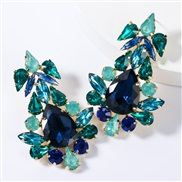 ( blue)occidental style wind drop multilayer diamond glass diamond fully-jewelled earrings woman fashion high-end super