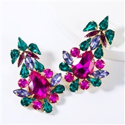 ( rose Red)occidental style wind drop multilayer diamond glass diamond fully-jewelled earrings woman fashion high-end su