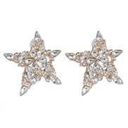 ( white) creative Five-pointed star earrings colorful diamond embed ear stud Earring