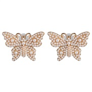 ( white) creative Pearl diamond butterfly ear stud personality exaggerating earrings