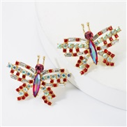 ( red)personality sweet wind occidental style exaggerating Alloy diamond glass diamond Rhinestone butterfly earrings wom