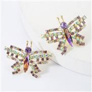 (purple)personality sweet wind occidental style exaggerating Alloy diamond glass diamond Rhinestone butterfly earrings w