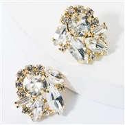 ( white)fashion colorful diamond glass diamond Rhinestone super fully-jewelled occidental style earrings woman occidenta