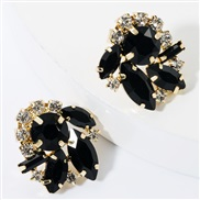 ( black)fashion colorful diamond glass diamond Rhinestone super fully-jewelled occidental style earrings woman occidenta
