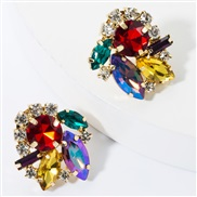 fashion colorful diamond glass diamond Rhinestone super fully-jewelled occidental style earrings woman occidental sty