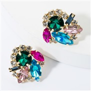 ( Blue color)fashion colorful diamond glass diamond Rhinestone super fully-jewelled occidental style earrings woman occi