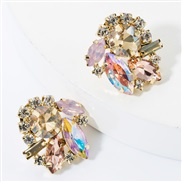 ( Pink)fashion colorful diamond glass diamond Rhinestone super fully-jewelled occidental style earrings woman occidental
