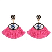 ( Pink)Korea womanins exaggerating personality big eyes tassel ear stud fashion retro diamond arring earrings