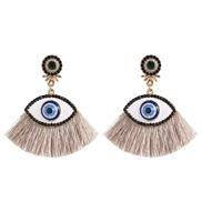( gray)Korea womanins exaggerating personality big eyes tassel ear stud fashion retro diamond arring earrings