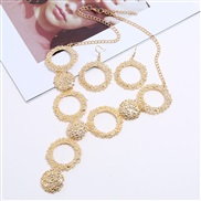 ( Gold)retro necklace  occidental style exaggerating geometry Round Metal necklace earrings set