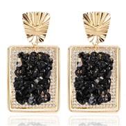 ( black)occidental style retro square gravel earrings Bohemia exaggerating personality earring earringserring F