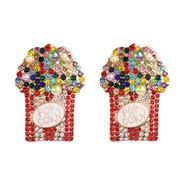 ( Color) flower ear stud personality creative exaggerating earrings occidental style woman