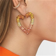baub same style Alloy diamond heart-shaped earrings occidental style fashion earring temperament all-Purpose arring