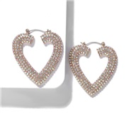 (AB color)baub same style Alloy diamond heart-shaped earrings occidental style fashion earring temperament all-Purpose a
