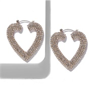 (White Diamond )baub same style Alloy diamond heart-shaped earrings occidental style fashion earring temperament all-Pur