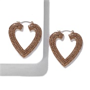 ( champagne)baub same style Alloy diamond heart-shaped earrings occidental style fashion earring temperament all-Purpose