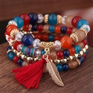 occidental style trend  concise all-Purpose Colorful Acrylic beads tassel leaves multilayer fashion temperament brace