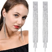 fine  occidental style fashion concise Metal bright diamond tassel personality exaggerating ear stud