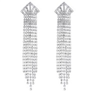 fine  occidental style fashion concise Metal crown bright diamond tassel personality exaggerating ear stud