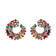 ( Color)all-Purpose ear stud  embed fully-jewelled fashion adies earrings  elegant Korean style zircon ear stud