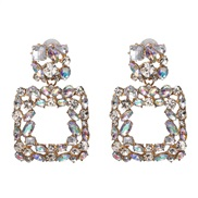 (AB)UR Alloy glass diamond earrings occidental style wind lady earring