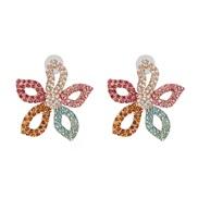 ( Color)UR fashion flowers ear stud high-end Rhinestone gradual change color earrings Earring