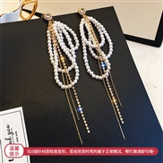 silver zircon Pearl tassel earring occidental style exaggerating long style fashion earrings temperament all-Purpos
