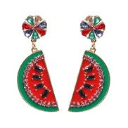( red)UR personality watermelon Modeling earrings high-end fruits enamel