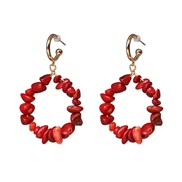 ( red)retro occidental style exaggerating ear stud temperament stone pattern earrings blue gem Earring