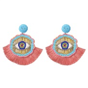 ( Pink)UR handmade beads earrings personality ethnic style tassel earring occidental style arring