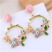 fine  Korean style fashion sweetOL concise color temperament ear stud