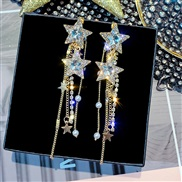 ( Five pointed star )silver crystal Five-pointed star earrings woman elegant all-Purpose atmospheric Rhinestone earring
