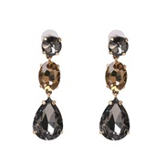 ( gray)occidental style Korean style temperament colorful diamond drop earrings ear stud collocation