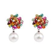( Color)Bohemia sector ear stud beads ear stud color crystal ear stud tassel arring