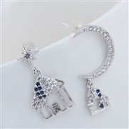 925 silver Korean style fashion sweetOL romantic samll woman asymmetry personality ear stud