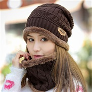 ( Coffee )knitting woman thick warm bag head Outdoor Korean style woolen hat