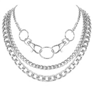 ( Silver)occidental style personality Alloy key buckle cirque hollow chain multilayer   all-Purpose necklace