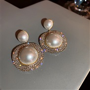 ( Silver needle  white)silver occidental style fashion exaggerating fully-jewelled Pearl earrings retro earring atmosphe